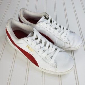 Puma Women's Basket Sneakers with Red Suede Stripe